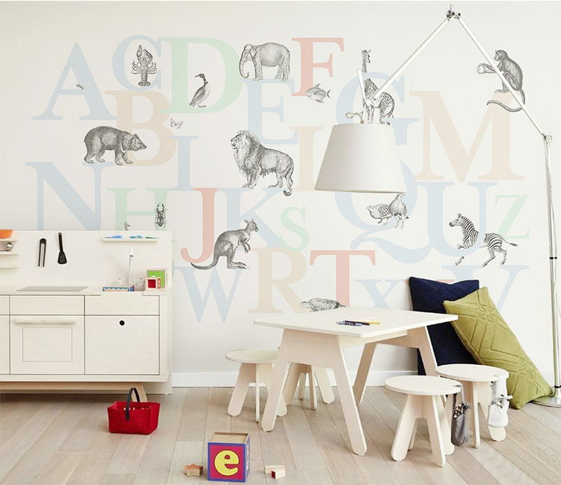 Dinamico Forest Animals Giraffa Leone Scimmia Wall Stickers Per La Camera Dei Bambini Adesivo Parete Del Fumetto 3d Murale Carta Da Parati Camera Da Letto Decor Poster