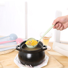 Kitchen Wheat Soup Spoon Colander Two In One Plastic Big Ladle Hot Pot Serving With A long Handle Cooking Tools Louche