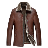 YuWaiJiaRen Winter Jacket Men Fur Lined Leather Jackets Mens Thick Warm Top Quality Luxury PU Leather
