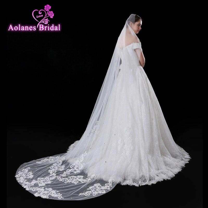 AOLANES 2018 New 2.5 Meter Lace Edge Wedding Veils  Beaded Long Bridal Veils  Ivory Wedding Accessories Veu De Noiva Com Renda