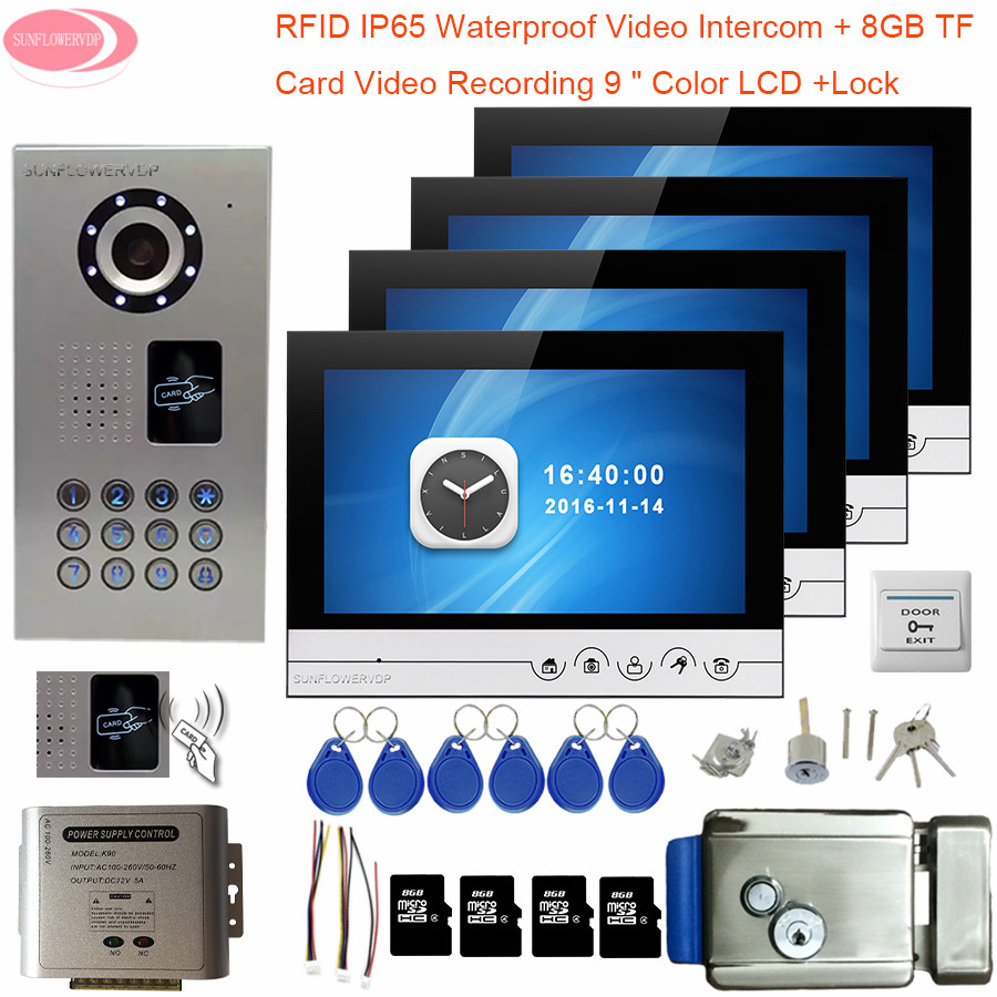 9inch Video Intercom With Recording +8GB TF Card Intercom Doorbell IP65 Waterproof Rfid Electronic Lock Home Intercom 4 Monitors