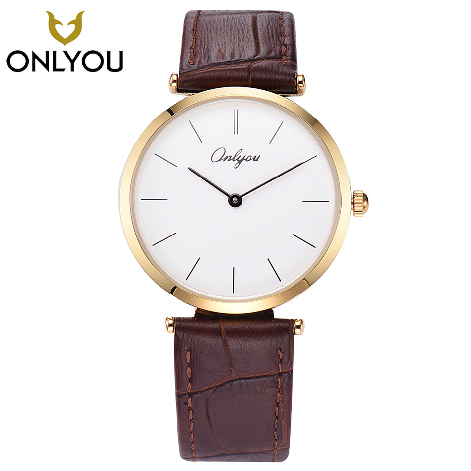ONLYOU Simple Women Watch Black Leather Band Ladies Fashion Casual Men Watches Lovers Business for boys Clock Relogio Feminino onlyou lovers watches men top fashion brand women dress business wristwatch ladies waterproof gold watch quzrtz clock wholesale