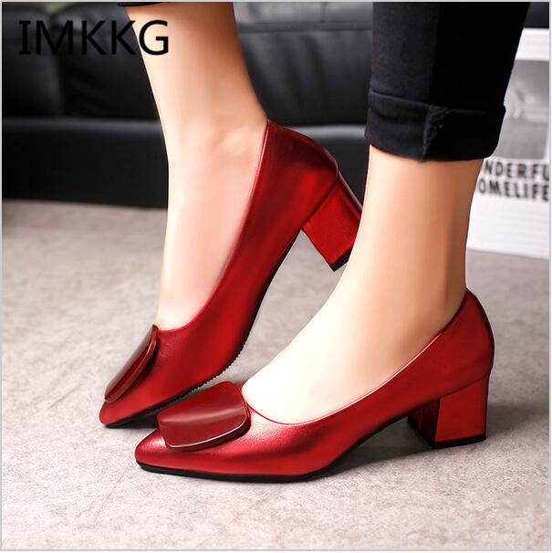 2017 Spring  Gun color Women Med Heels Pointed Toe Pumps Square Heeled Patent Leather Ladies Shoes zapatos mujer s002 basic pump