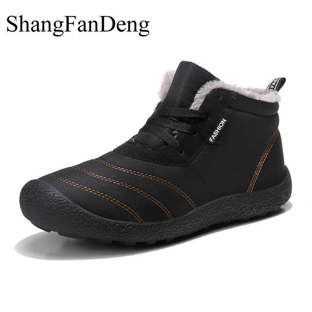 Mắt cá chân Giày Tuyết Người Đàn Ông Khởi Động Mùa Đông cho Người Đàn Ông Ấm Áp Không Thấm Nước Mưa Khởi Động Lông Chống Akid Cao Su Đế Ngoài Giày Dép Giản Dị Masculina bota