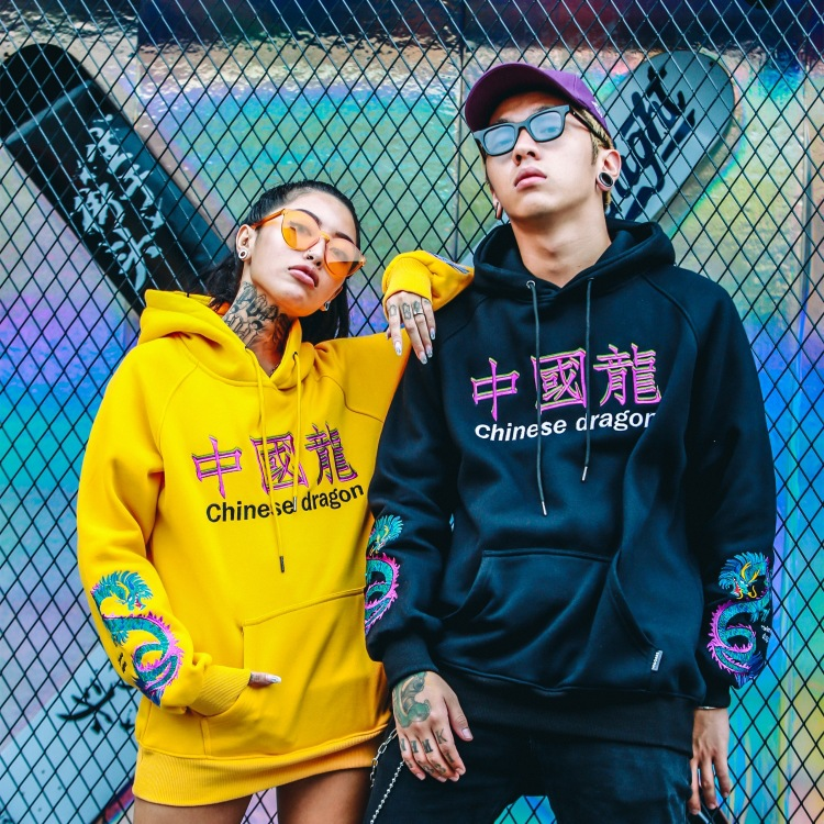 Модный повседневный брендовый свитшот с капюшоном в стиле хип-хоп с вышивкой дракона в китайском стиле, бархатный Свитшот