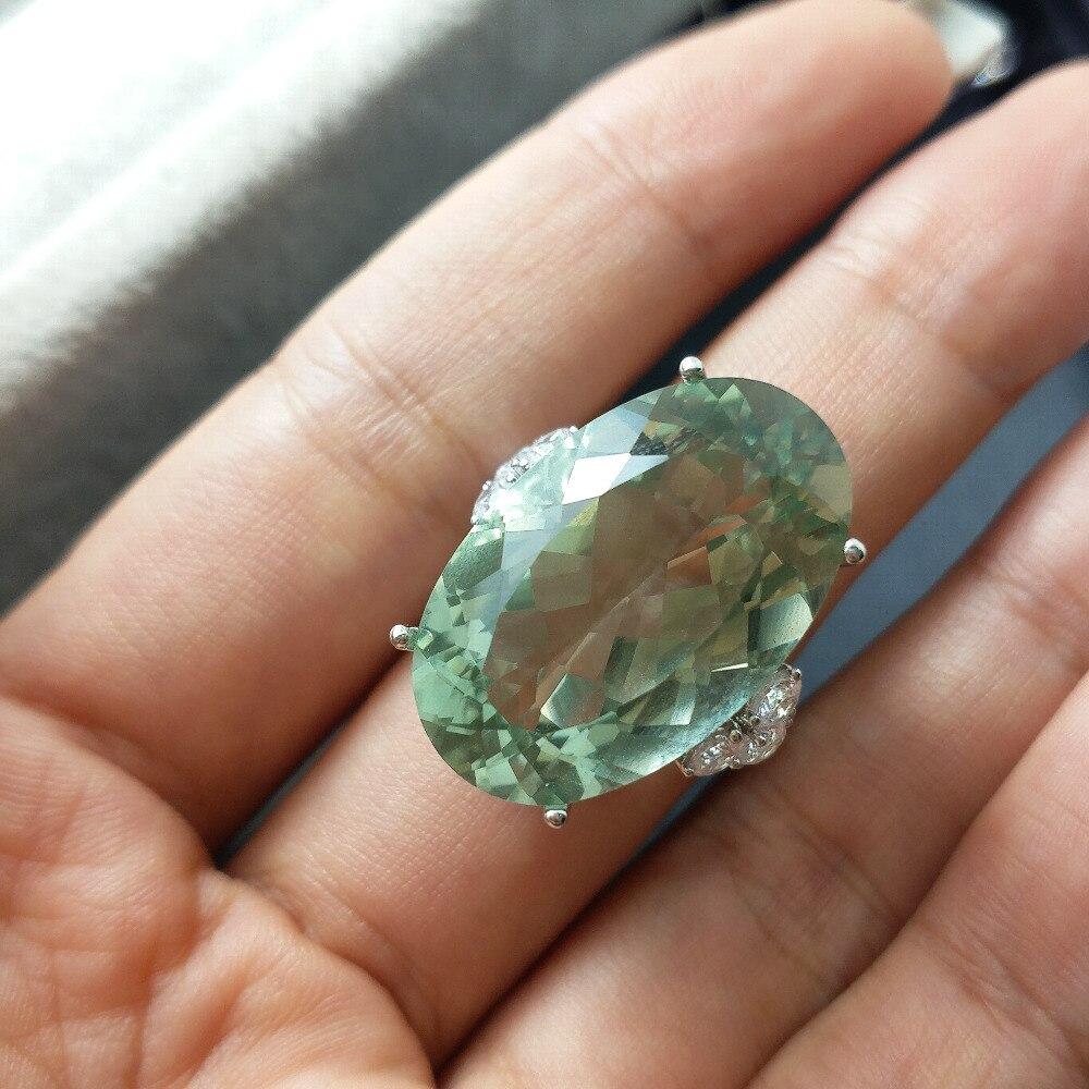 FLZB, duże ogromne 28.5ct 100% naturalny zielony pierścionek z ametystem w 925 roku sterling silver z 18k białe złoto pozłacane proste ekskluzywny pierścień w Pierścionki od Biżuteria i akcesoria na  Grupa 1