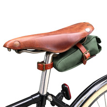 Tourbon Bike Saddle Bag Bicycle Seat Tail Case Green Canvas Phone Pouch Cycling Accessories tourbon vintage bicycle handlebar bag cycling backpack frame case full genuine leather pouch bike accessories