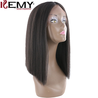 Yaki Straight Lace Front Synthetic Wig Natural Hairline Bob Wigs Middle Part Hair Wigs For Black Women Heat Resistant Fiber Hair