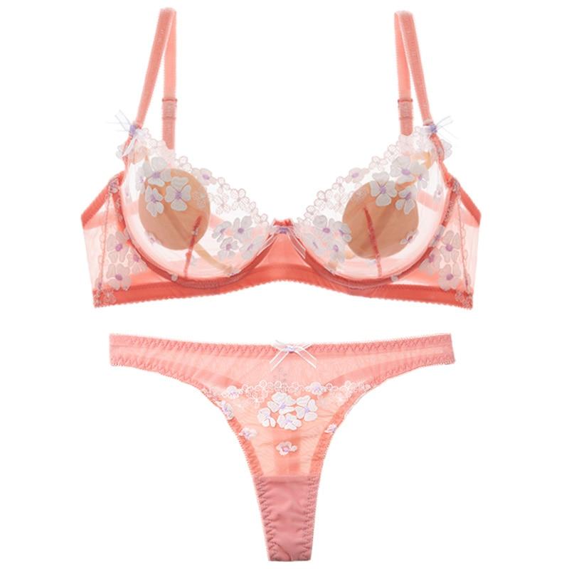 Shaonvmeiwu Sexy Lace Ultra Thin See-through Net Gauze Lady Underwear Bra Set Transparent No Sponge Bra Female