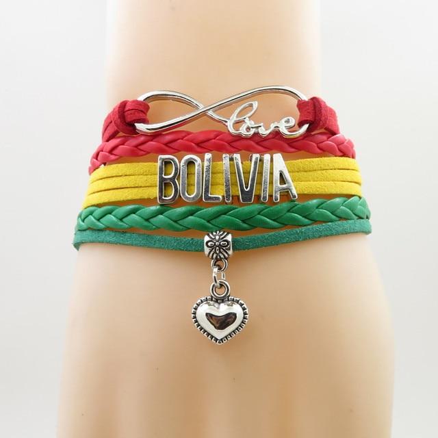c5bd4367fb4b Infinito amor bolivia pulsera corazón encanto bolivia bandera banner  pulseras y brazalete para mujeres y hombres