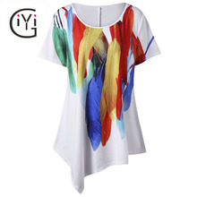 GIYI Plus Size 5XL Women Clothing Feather Print Asymmetric Oversized Loose White T-Shirt Women Short Sleeve Casual Top Big Size