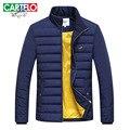 Cartelo marca 2016 nuevos hombres de invierno moda casual costura gruesa de algodón caliente acolchada chaqueta paraks