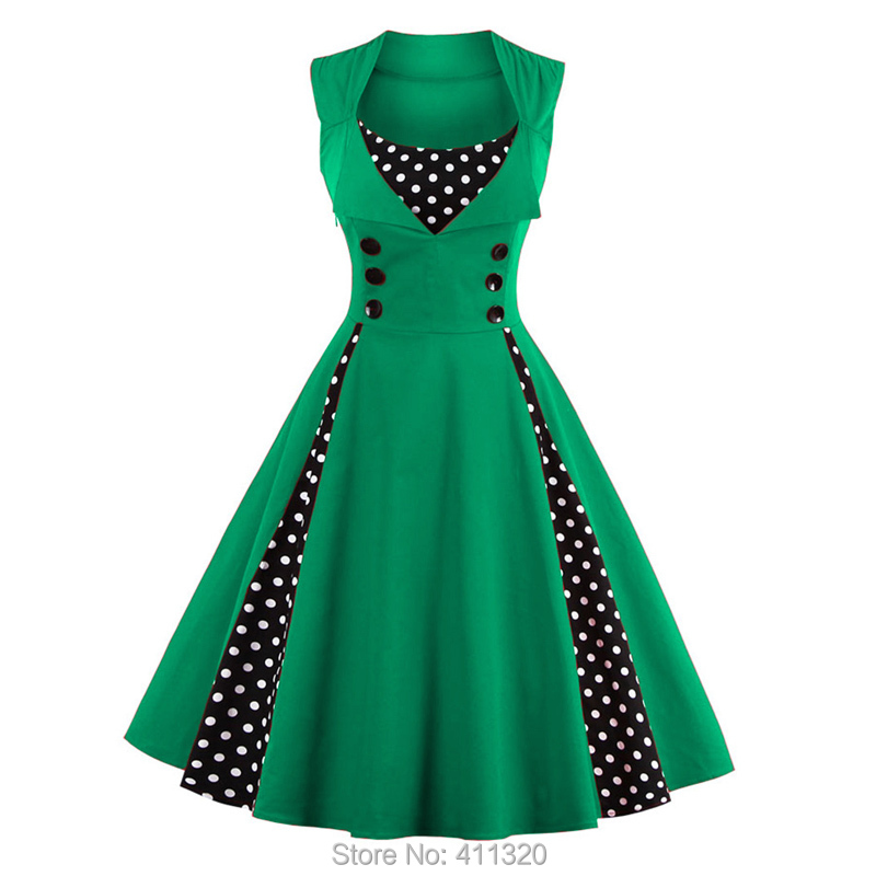 Womens Red Vintage Dress Polka Dots Patchwork 50s 60s 70s Retro Style Pin up Rockabilly Swing Wedding Party Dresses robe femme (8)