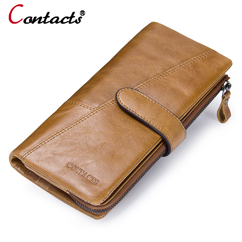 CONTACT'S Genuine Leather Men Wallet Men's Coin Purse Business Card Holder Long Wallet Male Clutch Phone Money Bags Man Wallet 100% genuine leather men s coffee wallet business credit card holder coin id purse 8011 1q