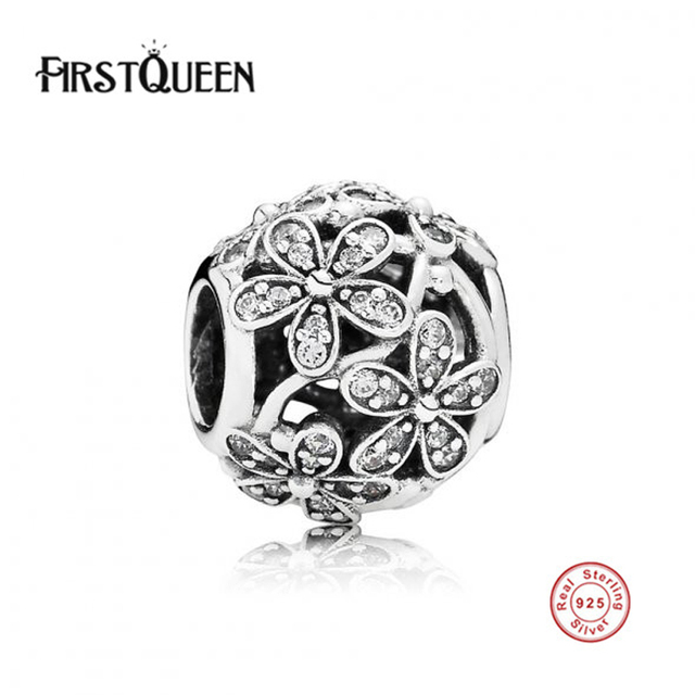 FirstQueen New Arrival 100% 925 Sterling Silver Beads Dazzling Daisy Meadow Charm Fit FirstQueen Original Bracelet DIY Jewelry M