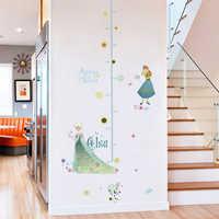 Cartoon Anna Elsa Wachstum Chart Wand Aufkleber Für Kinder Zimmer Hause Dekoration DIY Anime Gefrorene Wand Decals Höhe Messen Wandbild kunst