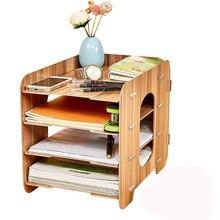Diniwell Office для настольных файл держатель творческий ящик для хранения деревянные Многослойные полка мобильный полка бытовой Съемная рабочего BOX