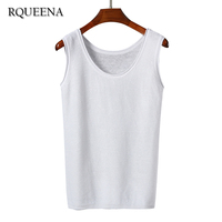 2017 New Fashion Spring Summer Flax Korean Style Solid Color Regular Knitted Tank Tops For Women