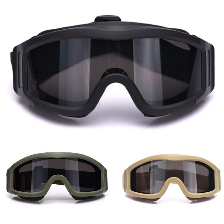 Prix pour Militaire Airsoft Tactique Lunettes Lunettes de Sécurité Lunettes de Combat 3 Interchangeables Anti-Brouillard tactique lunettes