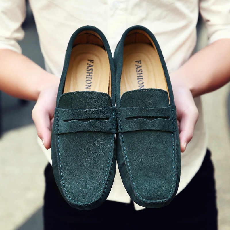รองเท้าผู้ชาย Loafers นุ่มคุณภาพสูงฤดูใบไม้ร่วงฤดูหนาวรองเท้าหนังแท้รองเท้าผู้ชายรองเท้า Warm Fur Plush Flats Gommino ขับรถรองเท้า