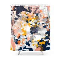 Stella Abstract Painting In Modern Fresh Colors Navy Orange Pink Cream White and Gold Shower Curtain Fabric Liner