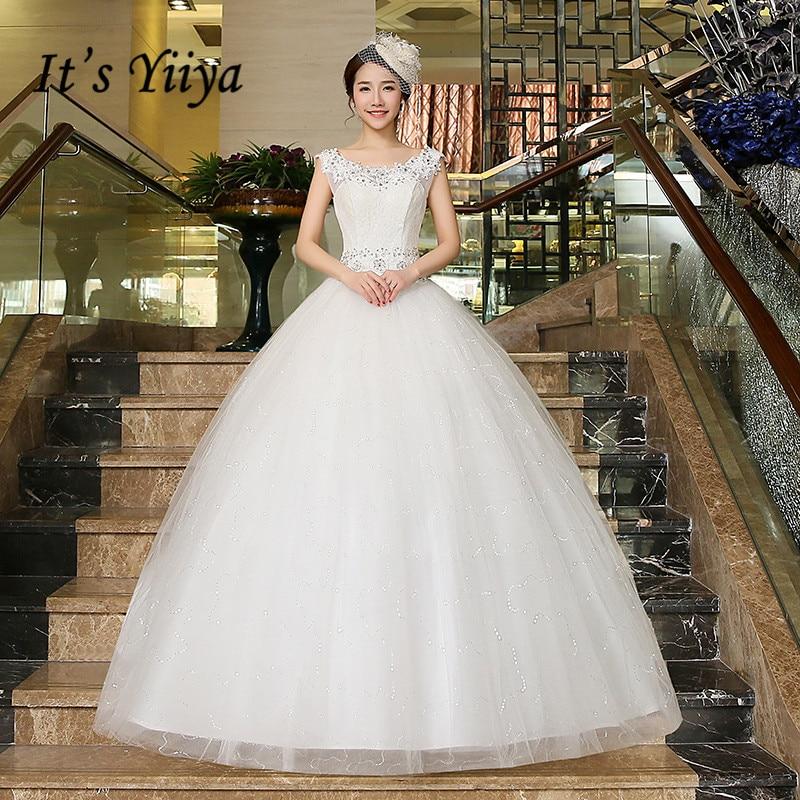 It's YiiYa Wedding Dress O-neck Sleevelss Elegant Wedding Dresses Sleeveless Lace Up Floor Length Bridal Ball Gown HS216