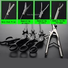 Instrumentos de treinamento laparoscópico em forma de v, 4 pçs/set, agulha, suporte, fórceps, ferramenta de prática de cirurgia, equipamento educativo