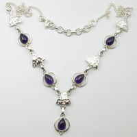 Solid Silver Purple Amethysts Pretty Necklace 18.1 ! Gift For Wife