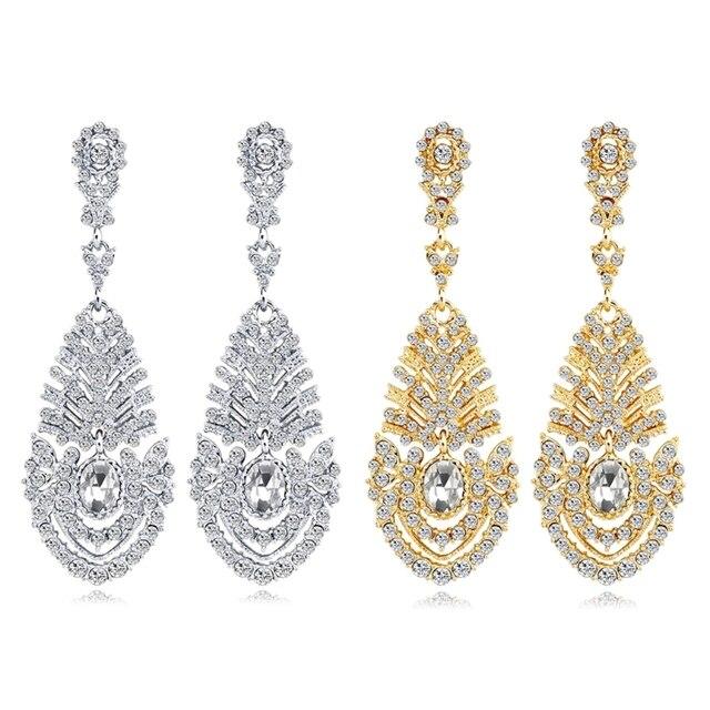 2018 Women's Earrings Luxury Rhinestone Peacock Feather Dangle Earring Long Bohemian For Wedding Bride Party Silver Gold 7x2.4cm