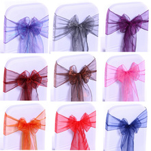 Фотография Meijuner 18cm*275cm Organza Chair Sashes Bow Cover Chair Sashes Tulle DIY For Weddings Events &Party Decoration
