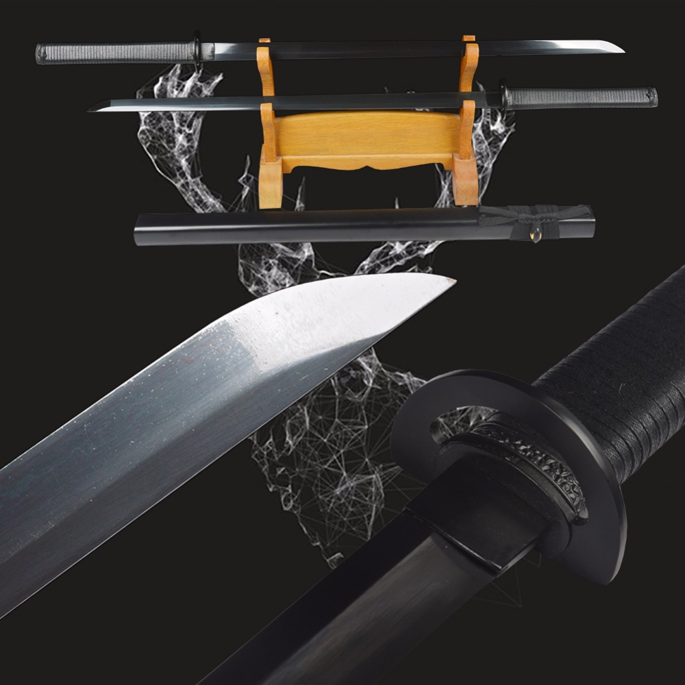 New Practical Genuine Japanese Samurai Ninja Swords High Carbon Steel Straight Blade Full Black Handmade Sharp Double Knives