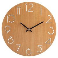 HOT SALE Creative Wall   Clock   Living Room Minimalist Modern Home Round Personality Silent Solid Wood Fashion(Light Brown)