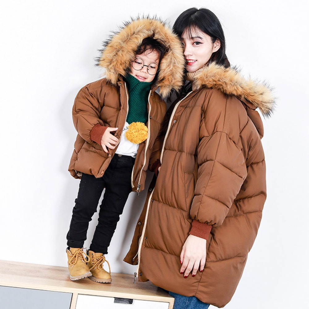 2018 Mother and Daughter Matching Jacket Outfits Girls Family Clothing Winter Coat Girls Long Sleeve Thicken Outwear Clothing L matching family clothing set 2015 autumn style winter family look matching mother daughter father son long sleeve sweater set