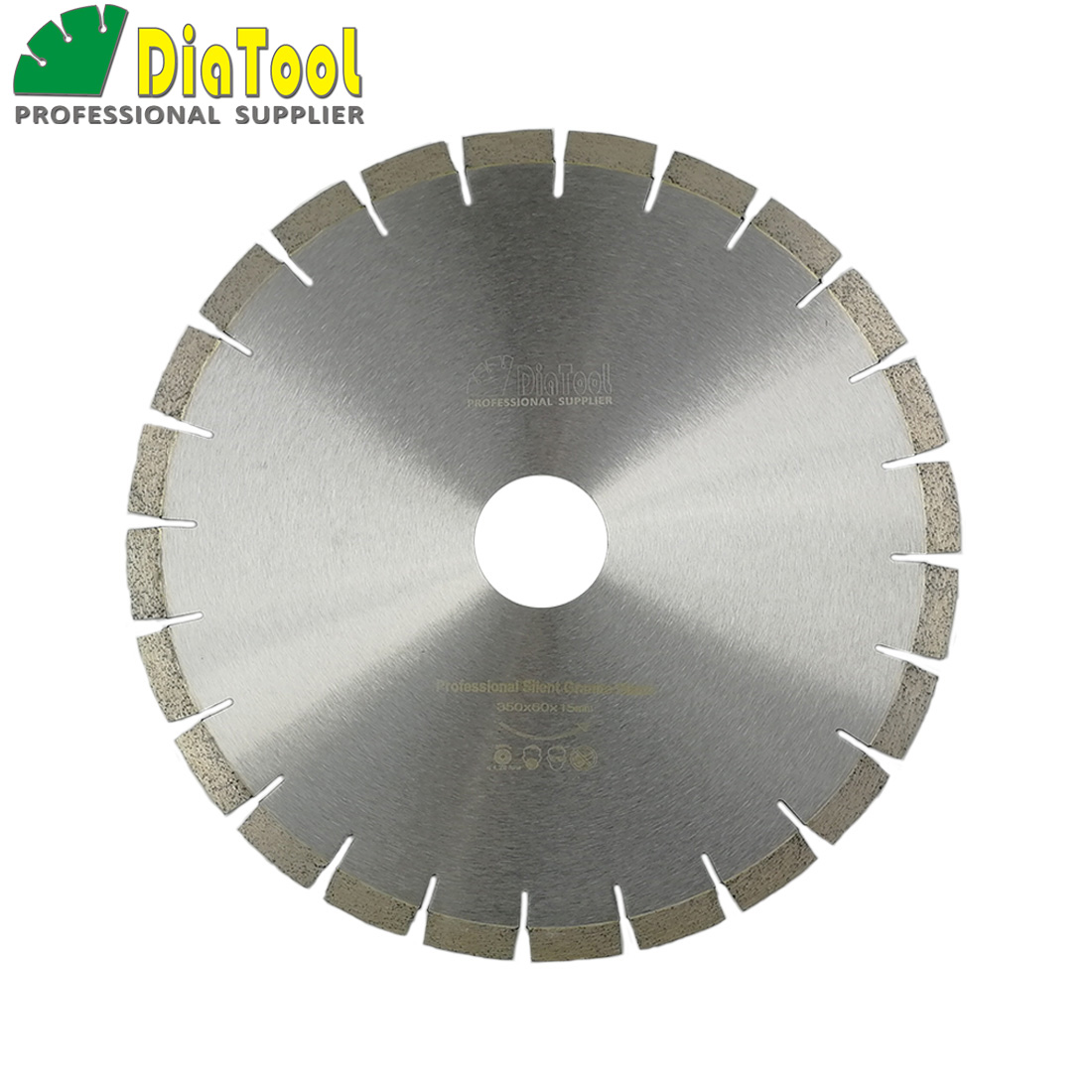 DIATOOL 1 pc 14 pouces 370mm qualité professionnelle diamant silencieux lames de scie granit Sandwich acier noyau de coupe humide disque alésage 60 MM