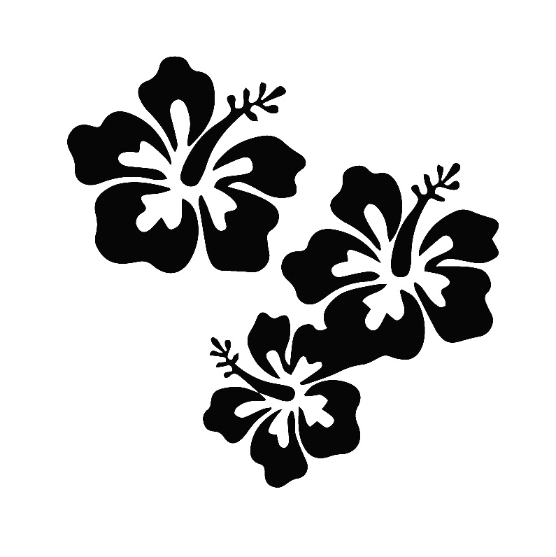 Family Car DECALS-Clear Sticker HIBISCUS
