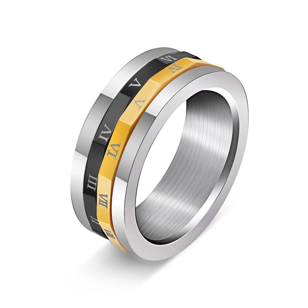 Нежный двойной вращающийся римскими цифрами 316L нержавеющая Титан Сталь кольцо для Для мужчин модные путешествие во времени дизайн-