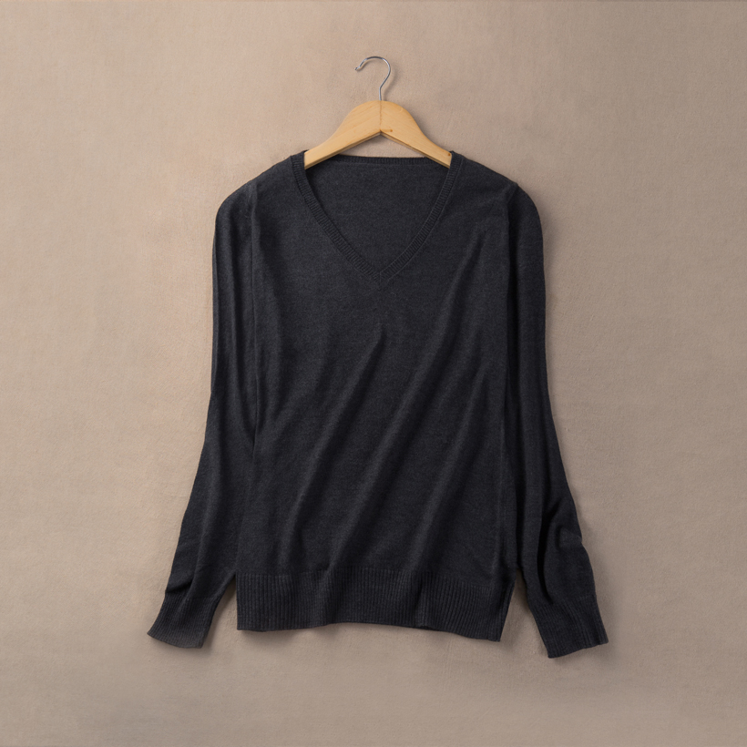 Soft Cashmere Elastic Sweaters Women Winter V-Neck