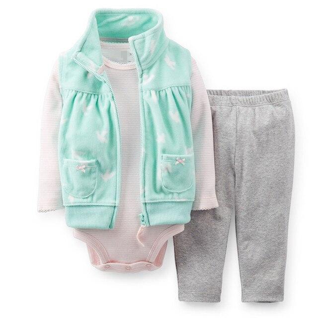 3 шт. девушка новорожденный одежда младенцы с длинным рукавом + брюки девушки флис жилет комбинезон брюки руно весна осень новорожденных пиджаки