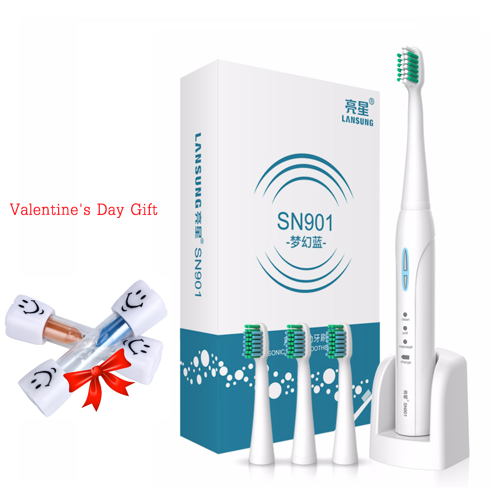 LANSUNG SN901 Sonic Electric Toothbrush 4 Pc Replacement Heads 2 Minutes Timer Tooth Brush 4pcs electric sonic replacement tooth brush heads for philips sonicare toothbrush heads dual soft bristles sensiflex hx2014