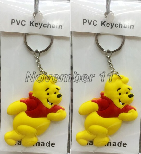 629d7e40a6be 10Pcs lovely Cartoon Winnie the pooh Key Chains Pendant PVC Key Chains For  Best Small gifts