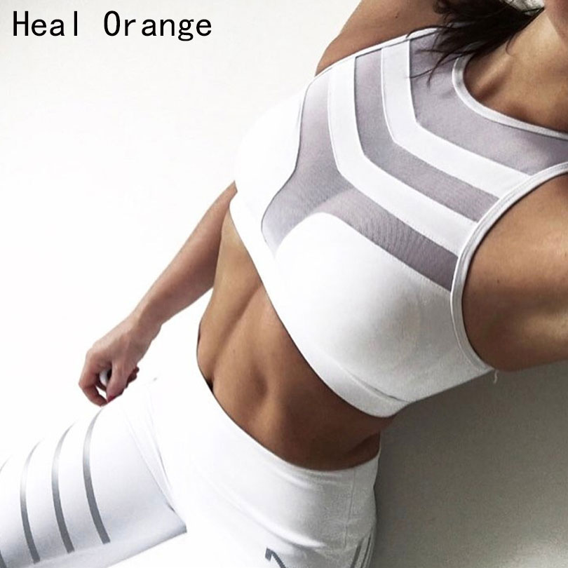 2018 Woman Sport Bra Top Women Crop Top Cropped Bra Tank Top Vest Fitness Stretch Push Up Women's Mesh Tanks Workout Bras Wear button through crop top