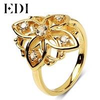 EDI European Cross 3mm Topaz Stone 925 Sterling Silver Ring 18K Gold Plated Wedding For Women