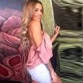 Safra 2016 encabeça mulheres Verão Estilo #7 fora do ombro babados Embelezado camisola sexy tops e blusas fow mulheres clubwear