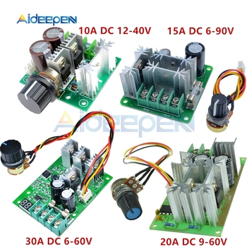 DC 6-60V 6-90V 9-60V 12-40V 10A 15A 20A 30A PWM DC Motor Speed Controller Module Adjustable Speed Regulator With LED Display image