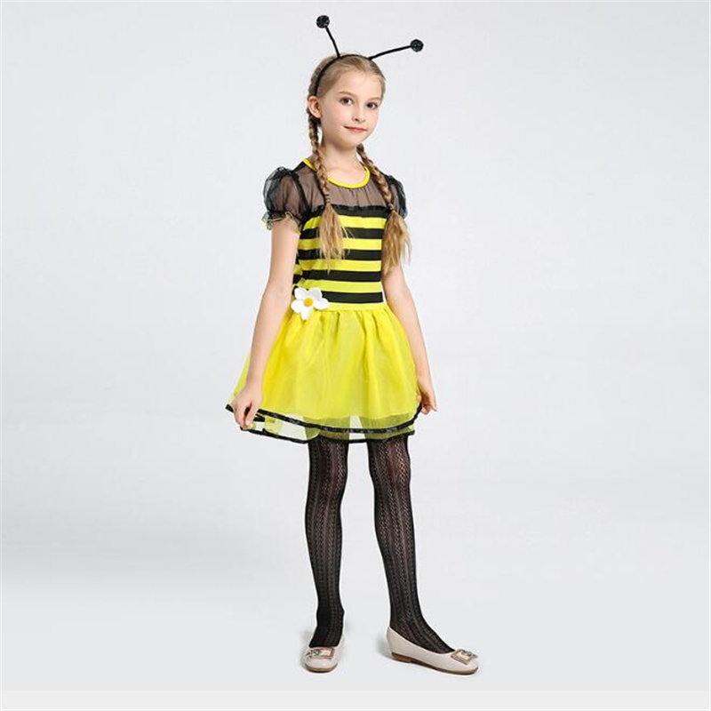 Fancy Girls Bee Costume Cute Halloween Carnival Kids Children Insect Cosplay Clothing