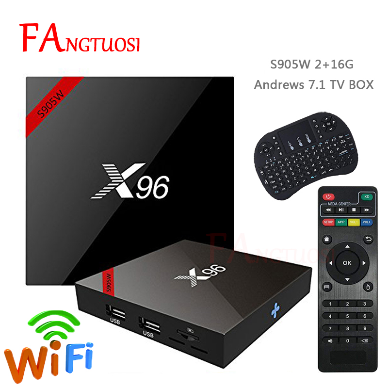 FANGTUOSI X96 X96W Smart tv box android 7.1 2GB 16GB Amlogic S905W Quad Core 4K 2.4GHz WiFi Media Player 1GB 8GB set-top box чехол samsung ef zg950cfegru для samsung galaxy s8 clear view standing cover золотистый