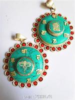 TBP756 Tibetan White Metal Copper silvertone Mantras amulets,Nepal turquoise flower Pendants Wholesale Tibet Jewelry