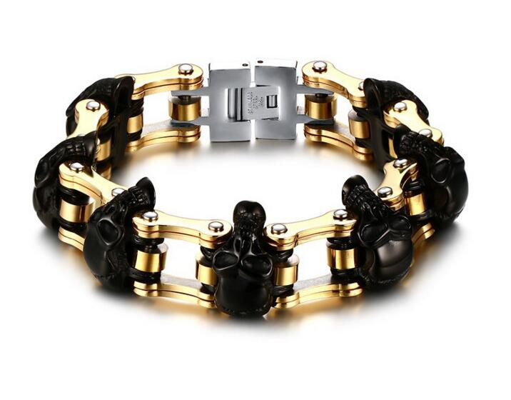 Black gold 23mm Width Skull Bracelet 316L Stainless Steel Big Heavy Men Bracelet Biker Motorcycle Hand Chain Wholesale 23mm width punk stainless steel bracelet men double biker bicycle motorcycle chain men s bracelets mens big bracelets