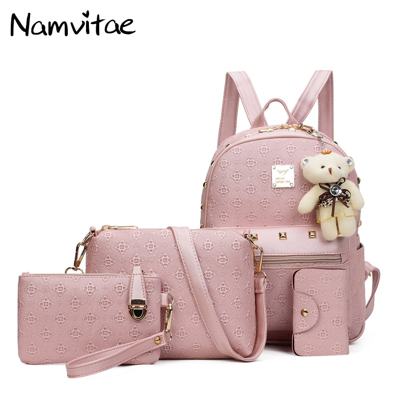 Fashion Women Backpack Pu Leather Composite Bag Cute Bear Set Shoulder School Backpacks for Teenage Student Girls Travel Bags 2016 fashion women waterproof pu leather rivet backpack women s backpacks for teenage girls ladies bags with zippers black bags