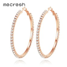 Mecresh 55mm Big Round Circle Hoop Earrings Crystal Rhinestone Silver Rose Gold Black Color Women Fashion Earrings 2019 EH1371(China)